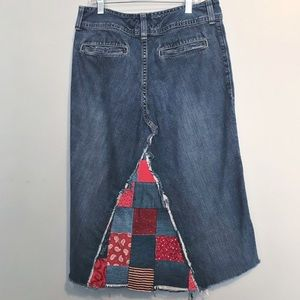 AE distressed raw hem patchwork denim skirt